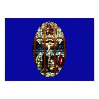 Crucifixión del vitral de Jesús Invitación Personalizada