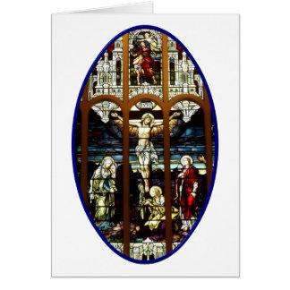 Crucifixión del vitral de Jesús Felicitacion