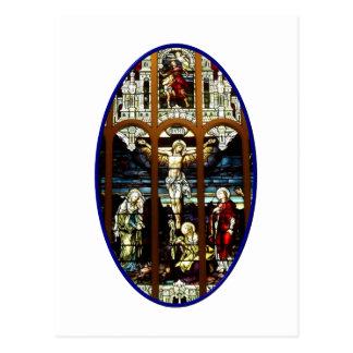 Crucifixión del vitral de Jesús Tarjeta Postal