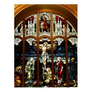Crucifixión - Jesús en la cruz - vitral Postal