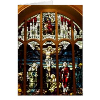 Crucifixión - Jesús en la cruz - vitral Tarjetón