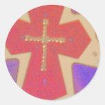 cruz abstracta etiqueta