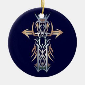 Cruz adornada cristiana 52 adorno redondo de cerámica