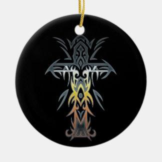Cruz adornada cristiana 53 adorno redondo de cerámica