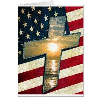 Cruz americana #1 tarjeta de felicitación