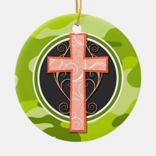 Cruz anaranjada brillante; camo verde, camuflaje adornos de navidad