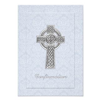 Cruz azul de la plata del damasco de la invitación 12,7 x 17,8 cm