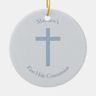 Cruz azul en colores pastel de la comunión adorno navideño redondo de cerámica