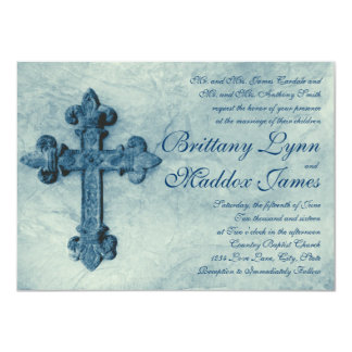 Cruz azul rústica apenada casando invitaciones invitación 11,4 x 15,8 cm