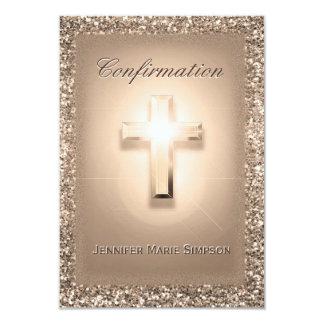 Cruz color de rosa pálida de la confirmación invitación 8,9 x 12,7 cm