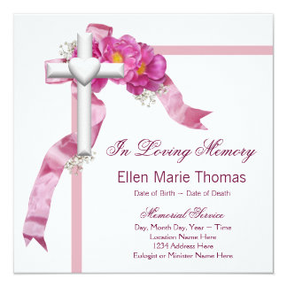 Cruz color de rosa rosada en monumento cariñoso de invitación 13,3 cm x 13,3cm