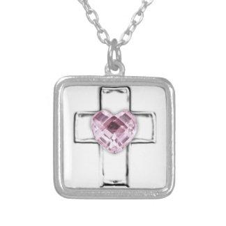 cruz con el birthstone en forma de corazón de octu collares