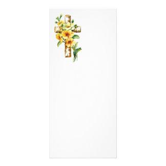 Cruz con las flores amarillas tarjeta publicitaria