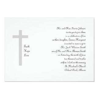 Cruz cristiana 2 del amor de la esperanza de la fe invitación 12,7 x 17,8 cm