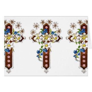 Cruz cristiana con halo de las flores tarjeta de felicitación