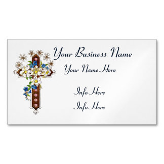 Cruz cristiana con halo de las flores tarjetas de visita magnéticas (paquete de 25)