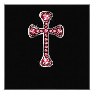 """Cruz cristiana con las piedras """"de rubíes"""" invitación"""