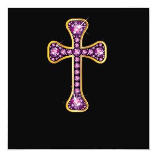 """Cruz cristiana con las piedras del """"granate"""" invitación 13,3 cm x 13,3cm"""