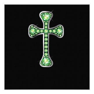"Cruz cristiana con las piedras del ""Peridot"" Invitacion Personal"