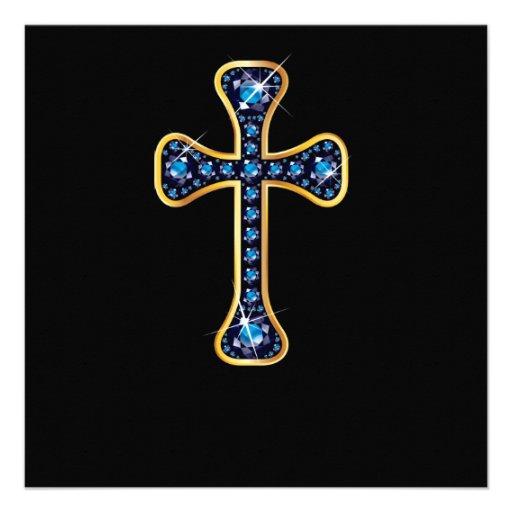 "Cruz cristiana con las piedras del ""zafiro"" comunicado"