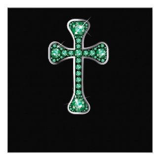 """Cruz cristiana con las piedras """"esmeralda"""" invitación"""