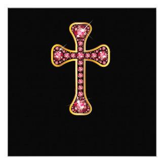 """Cruz cristiana con las piedras """"esmeralda"""" comunicado"""