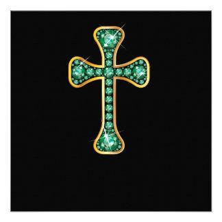 """Cruz cristiana con las piedras """"esmeralda"""" anuncios personalizados"""