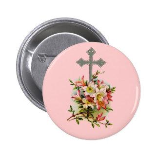 Cruz cristiana de plata chapa redonda 5 cm