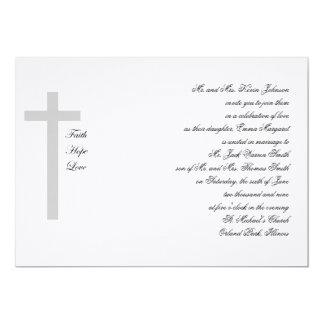 Cruz cristiana del gris del amor de la esperanza invitación 12,7 x 17,8 cm