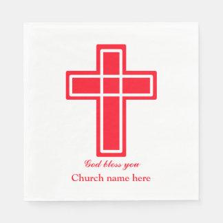 Cruz cristiana en el rojo a personalizar servilleta desechable