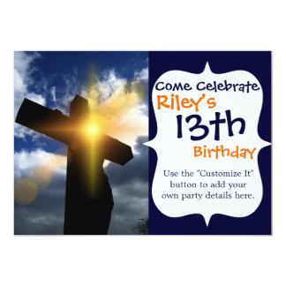 Cruz cristiana en el servicio de la salida del sol invitación 12,7 x 17,8 cm