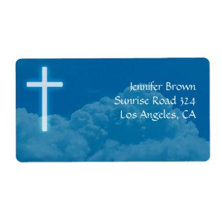 Cruz cristiana etiqueta de envío