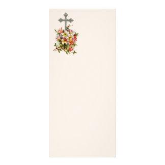 Cruz cristiana floral folleto publicitario 10 x 22,8 cm