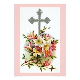 Cruz cristiana floral invitación 12,7 x 17,8 cm
