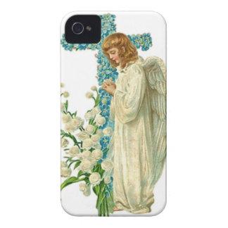 Cruz cristiana florecida azul Case-Mate iPhone 4 cárcasas