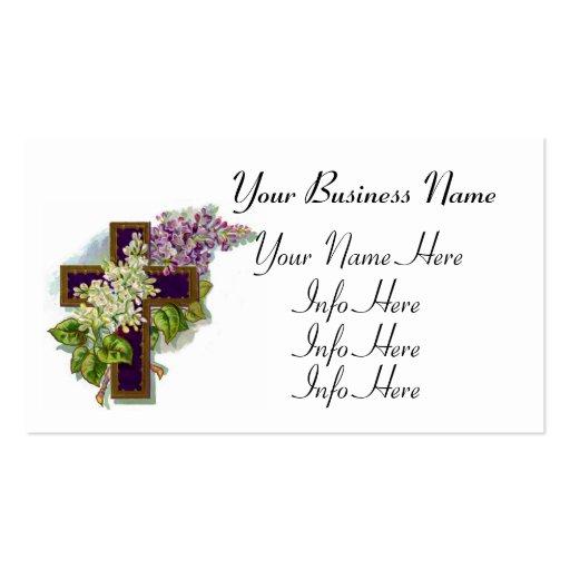 Cruz cristiana púrpura plantilla de tarjeta de negocio