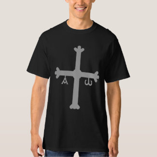 Cruz de Asturias con la camisa alfa y de Omega