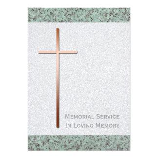 Cruz de cobre/invitación fúnebre de piedra