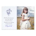 Cruz de la lila con la foto religiosa de las comunicados personalizados