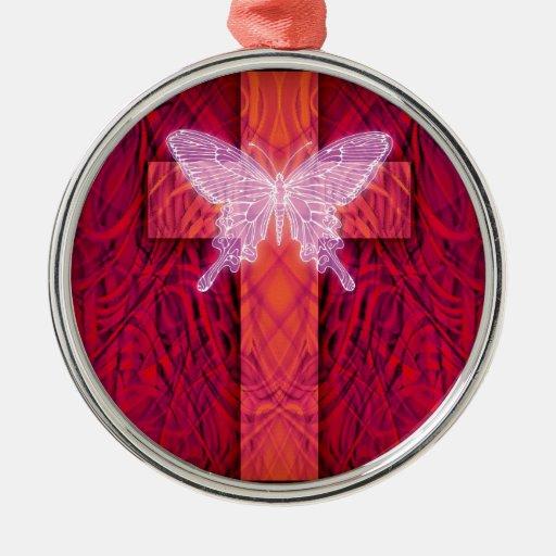 Cruz de la mariposa ornamentos de navidad