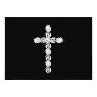 Cruz de la plata y de los rosas blancos invitación 12,7 x 17,8 cm