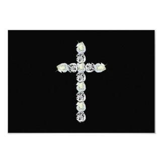Cruz de la plata y de los rosas blancos invitación 8,9 x 12,7 cm
