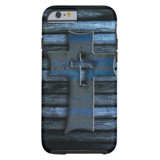 Cruz de madera azul funda para iPhone 6 tough