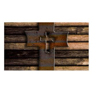 Cruz de madera natural de Brown Tarjetas De Visita