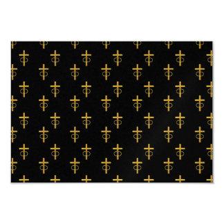"""cruz de oro de la mirada """"tridimensional"""" con los invitación 8,9 x 12,7 cm"""