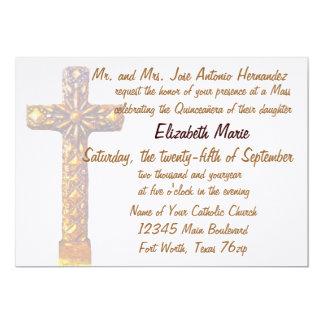 Cruz de oro de Quinceanera Invitación 12,7 X 17,8 Cm