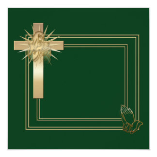 Cruz de oro e invitaciones de rogación de las invitación 13,3 cm x 13,3cm