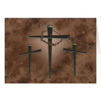 Cruz de Pascua con la corona de espinas Tarjeta Pequeña