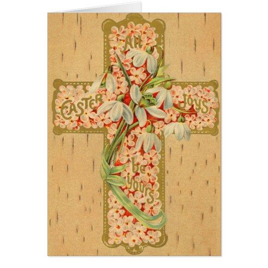 Cruz de Pascua del vintage Tarjeta De Felicitación