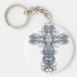 Cruz del alambre con la medalla milagrosa llaveros